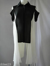 Zhouk Black & White Sheer Cut Out Shirt  With Wings Size 1/S-M BNWT
