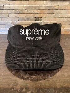 Supreme Classic Logo Corduroy 6-Panel Cap Hat Camp Black Box S/S15