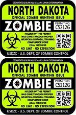 "ProSticker 1244 (Two) 3""x 4"" North Dakota Zombie Hunting License Decal Sticker"