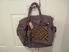 SIMONE CAMILLE suede leather embroidered Toupe large carpet bag puse Tote -NWT
