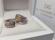White gold finish HUGGIE princess cut hoop DG created  multi diamond earrings
