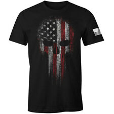 USA American Military Skull Flag Patriotic T-Shirt