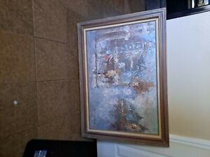 barton original signed oil painting of a city has a texture to the painti