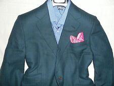 NWOT TURNBULL & ASSER Mens Green Windowpane Two Button 100% Wool Suit Blazer-41S