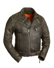 FMC Men's 60's New Yorker Leather Motorcycle Jacket 3XL Anthracite FIM210CTZ HB