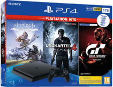 SONY PLAYSTATION 4 PS4 1TB F CHASSIS SLIM HDR+Uncharted+Zero Dawn+GT Sport PSHit