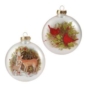 Cardinals & Deer Disc Ornament