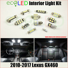 For 2010-2017 Lexus GX460 WHITE Interior LED Light Accessories Package Kit 16 PC