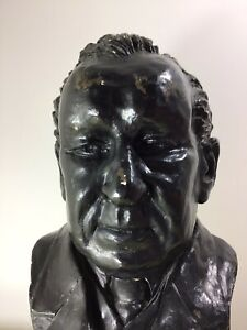 """Decorative Vintage Large 18"""" Plaster Bust of a Gent Gentleman Library Study"""