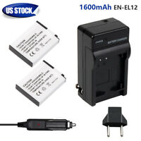 2 Pack 1.6Ah EN-EL12 Battery + Charger for Nikon Coolpix AW110 AW100 S6000 S6300
