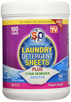 S2O Laundry Detergent Sheets Plus Stain Remover Booster Fresh Scent 100 Loads
