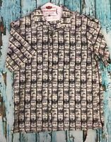 Pusser's Island Style Hawaiian Shirt Block Print White Gray Sz:M EUC