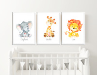Cute Animal Prints / Pictures for Nursery / Boys / Girls Bedroom Watercolour