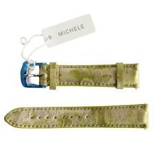 NEW Michele 18mm Silver Green Flowers Genuine Alligator Watch Band Strap