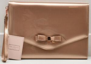 Ted Baker London Cersei Envelope Clutch Wristlet Handbag Rose Gold New! NWT