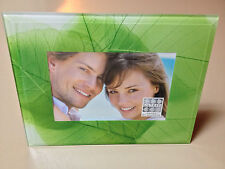 NEW SIXTREES Ltd. 4x6 Floral Green Leaves Standing Beveled Glass Picture Frame