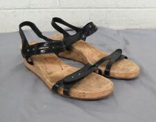 Vaneli Black Leather Cork Wedge Heeled Sandals US Women's 10 EXCELLENT LOOK