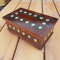 WOODEN JEWELLERY BOX, VINTAGE STYLE BOX LOCK AND KEY IN BROWN COLOR