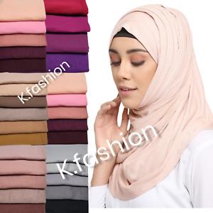Luxury Super Stretch Premium Quality Thick Plain Jersey Hijab Scarf Head Wrap