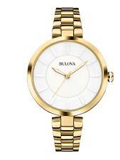 Bulova Women's  Quartz White Dial Gold-Tone Bracelet 38mm Bracelet Watch 97L142
