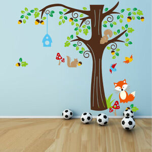 Removable Large Forest animals Fox Tree Wall Sticker Decal Mural Room Decor