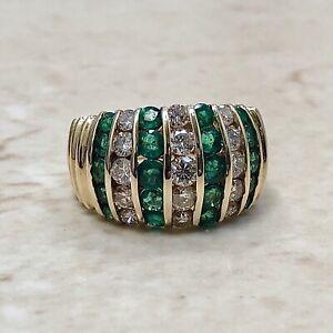Vintage 14 Karat Yellow Gold Natural Emerald & Diamond Ring 1.75 CTTW