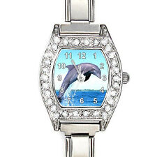 Jumping Dolphin CZ Ladies Stainless Steel Italian Charms Bracelet Watch BJ1178