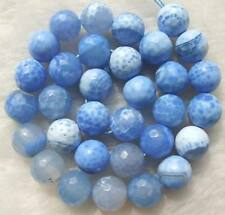 12mm Blue Crab Agate Faceted Round Beads 14""