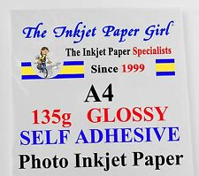 A4 135g Gloss Self Adhesive Sticky Back Inkjet Photo Paper 100 shts