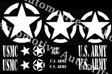 Military Jeep Decal Sticker Kit Star Circle US ARMY USMC Willys - Multiple Color