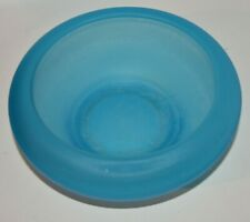 Vintage? TIFFIN Blue Satin Iridescent Glass Cupped Bowl 9 Inches