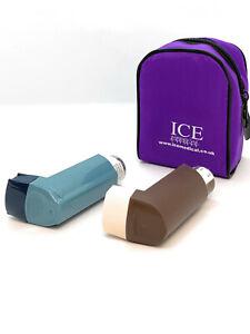 Purple ICE Medical 2 Inhaler Medication Bag Case (Small) - Asthma, Travel, Home