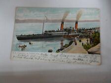 More details for postcard  -p9a40  ss columba at tarbert pier  pmk tarbert  1905  ship paddle