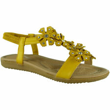 Womens Ladies Elastic Strap Comfy Flat Bling Summer Peeptoe Sandals Shoes Sizes