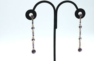Gorgeous Purple Rhinestone Aurora Borealis Dangle Pierced Drop Earrings a23