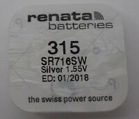 Brand New 1 x 315 Renata Watch Battery (Silver 1.55v SR716SW)- 01/2018 EXP