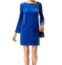ECI NEW Womens Royal Blue Velvet Brocade Flare Sleeves Shift Dress Large