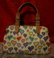 RARE DOONEY & BOURKE VTG COATED CANVAS HEART SATCHEL W/3 COMPARTMENTS 11-13LX 8H
