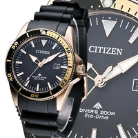 Citizen Eco Drive Mens Watch Rose Gold Plated Divers 200M BN0104-09E UK Seller