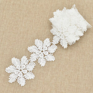 2 Yards Lace Trim Ribbon Embroidered Snowflake Hollow DIY Dress Sewing Materials