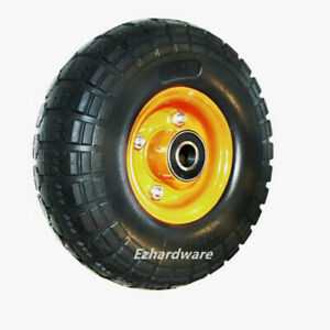 """2pc 4pc 10""""Inch Solid Rubber Wheel 20mm Bore 4.10/3.5-4 Flat Free Puncture proof"""