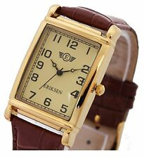 Eriksen Mens Gold Rectangular Dress Watch Leather Strap Mcg