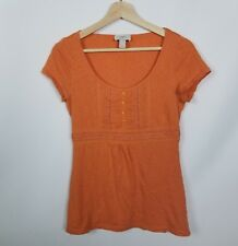 Ann Taylor LOFT Womens Shirt Size S Orange Scoopneck Short Sleeve