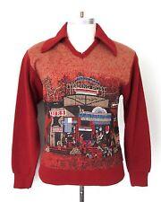 Vtg 70s Yukon Trading Post Knit Scene Disco Pimp Collared V-Neck Sweater Shirt S