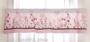 Kidsline Butterfly Meadow Organic Window Valance Girl Nursery Floral Garden Pink