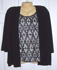 Alfred Dunner Women Blouse/Camisole PL Black/White Pull Over 3/4 Sleeve # -532