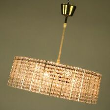 Strass Kristall Pendel Lampe Diamanten Leuchte Kunststoff Vintage 60er 70er