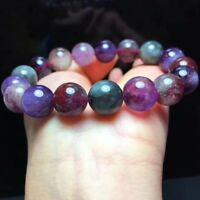 Genuine Natural Cacoxenite Colorful Auralite 23 Round Beads Bracelet 12mm AAA