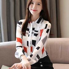 Women Lady Print Chiffon Long Sleeve Button Down Shirt Casual Office Blouse Tops