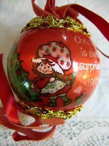 1982 Strawberry Shortcake Satin vtg Christmas Ornament Sequin Cording Embellish